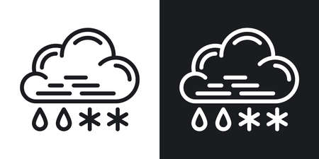 Rain with snow or sleet icon for weather forecast application or widget. Cloud with raindrops and snowflakes. Two-tone version on a black and white background