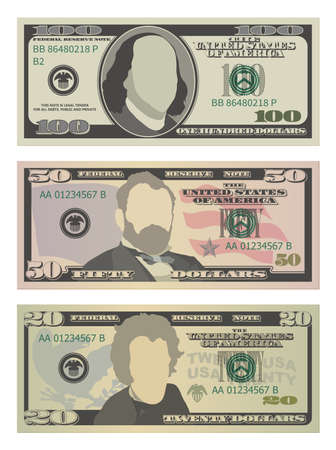 Set of one hundred dollars, fifty dollars and twenty dollar bills. 100, 50 and 20 US dollars banknotes. Vector illustration of USD isolated on a white background