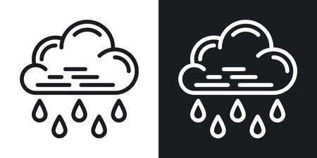 Heavy rain, shower or downpour icon for weather forecast application or widget. Cloud with raindrops. Two-tone version on a black and white background