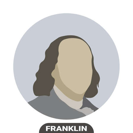 Benjamin Franklin, United States politician. Stylized portrait. Vector illustration on a white background