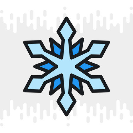 Snow or snowflake icon for weather forecast application or widget. Color version on a light gray background