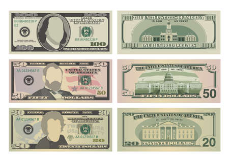 Set of one hundred dollars, fifty dollars and twenty dollar bills. 100, 50 and 20 US dollars banknotes from front and reverse side. Vector illustration of USD isolated on a white background