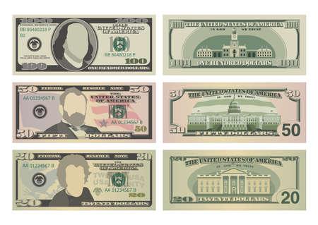 Satz von hundert Dollar, fünfzig Dollar und zwanzig Dollarscheinen. 100, 50 und 20 US-Dollar-Banknoten von Vorder- und Rückseite. Vektor-Illustration von USD isoliert auf weißem Hintergrund