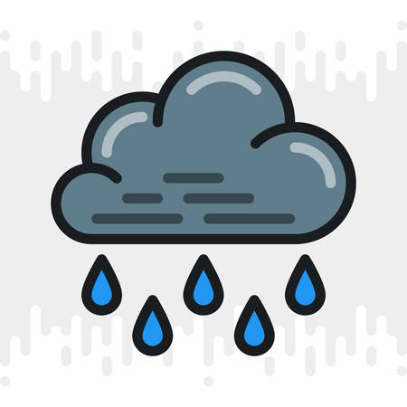 Heavy rain, shower or downpour icon for weather forecast application or widget. Cloud with raindrops. Color version on a light gray background