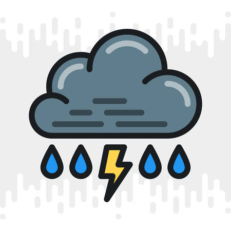 Rain with thunder or thunderstorm icon for weather forecast application or widget. Cloud with raindrops and lightning bolt. Color version on a light gray background