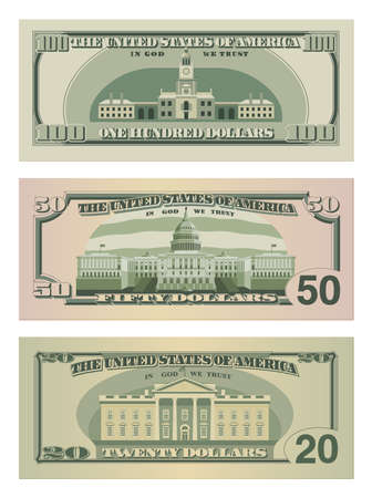 Set of one hundred dollars, fifty dollars and twenty dollar bills. 100, 50 and 20 US dollars banknotes from reverse side. Vector illustration of USD isolated on a white background