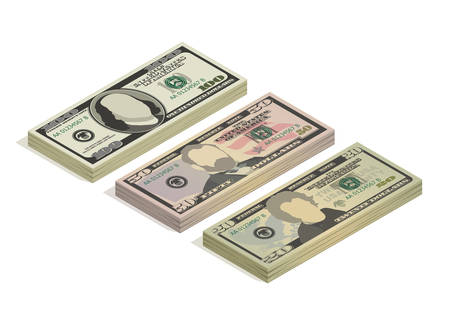 Stacks of hundred dollars, fifty dollars and twenty dollar bills. Paper money, pile of 100, 50 and 20 US dollars banknotes, isometric view. Vector illustration isolated on a white background