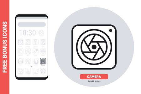 Camera application icon for smartphone, tablet, laptop or other smart device with mobile interface. Simple black and white version. Free bonus icons included Stock Illustratie