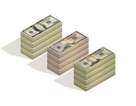 Big stacks of hundred dollars, fifty dollars and twenty dollar bills. Paper money, pile of 100, 50 and 20 US dollars banknotes, isometric view. Vector illustration isolated on a white background