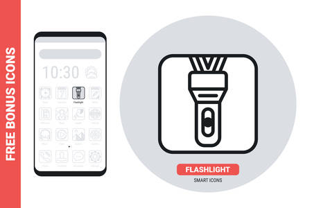 LED flashlight application icon for smartphone, tablet, laptop or other smart device with mobile interface. Simple black and white version. Free bonus icons included  イラスト・ベクター素材