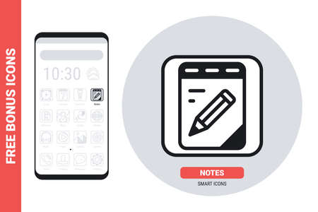 Notebook, notepad or notes application icon for smartphone, tablet, laptop or other smart device with mobile interface. Simple black and white version. Free bonus icons included