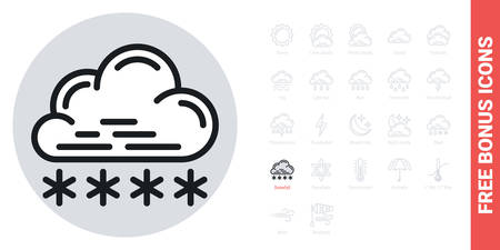 Snow or snowfall icon for weather forecast application or widget. Cloud with snowflakes. Simple black and white version. Contains free bonus icons kit