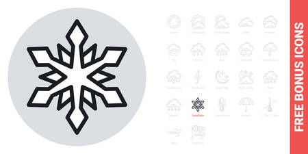 Snow or snowflake icon for weather forecast application or widget. Simple black and white version. Contains free bonus icons kit