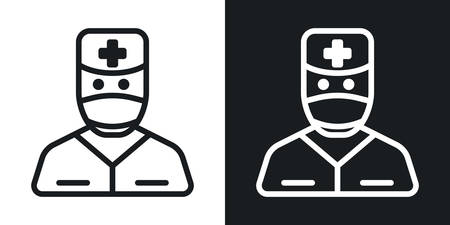 Doctor icon. Man in medical mask, medical gown and doctors hat. Minimalistic two-tone vector illustration on black and white background