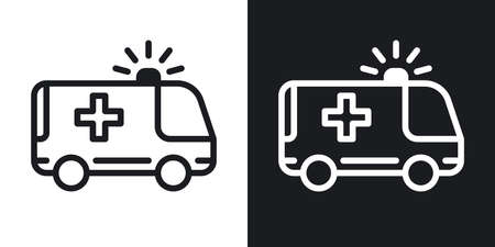 Ambulance car icon. Minimalistic two-tone vector illustration on black and white background