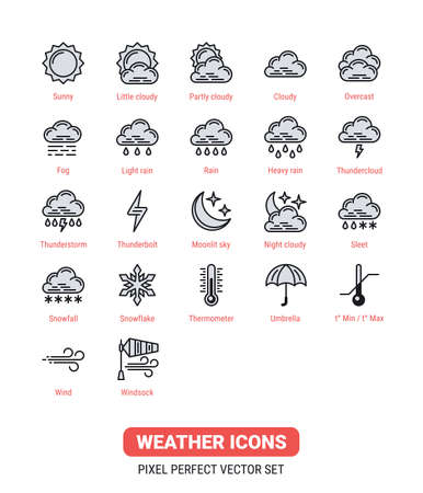 Weather icons kit. Icon set for application, widget or web site for weather forecasting. Vector illustration on a white background