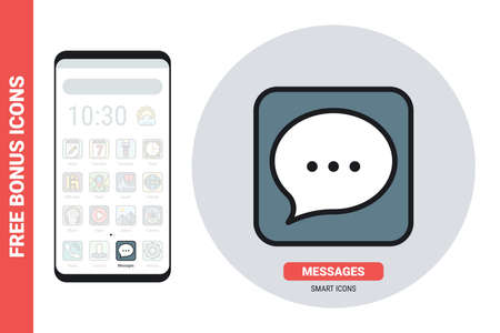 Messages, chat or messenger application icon for smartphone, tablet, laptop or other smart device with mobile interface. Simple color version. Free bonus icons included 向量圖像