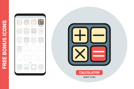 Calculator application icon for smartphone, tablet, laptop or other smart device with mobile interface. Simple color version. Free bonus icons included