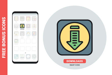 Downloads or download folder application icon for smartphone, tablet, laptop or other smart device with mobile interface. Simple color version. Free bonus icons included