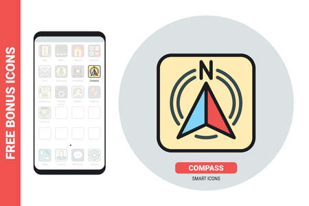 Compass application icon for smartphone, tablet, laptop or other smart device with mobile interface. Simple color version. Free bonus icons included