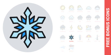 Snow or snowflake icon for weather forecast application or widget. Simple color version. Contains free bonus icons kit
