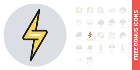 Lightning bolt or thunderbolt icon for weather forecast application or widget. Simple color version. Contains free bonus icons kit