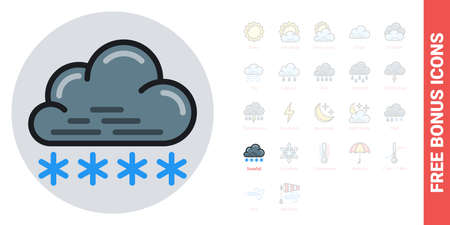 Snow or snowfall icon for weather forecast application or widget. Cloud with snowflakes. Simple color version. Contains free bonus icons kit