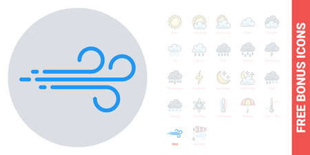 Wind or breeze icon for weather forecast application or widget. Simple color version. Contains free bonus icons kit