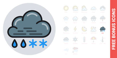 Rain with snow or sleet icon for weather forecast application or widget. Cloud with raindrops and snowflakes. Simple color version. Contains free bonus icons kit