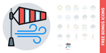 Windsock or wind speed flag icon for weather forecast application or widget. Simple color version. Contains free bonus icons kit