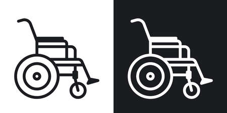 Wheelchair icon, disabled person concept. Minimalistic two-tone vector illustration on black and white background