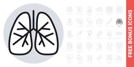 Human lungs icon. Simple black and white version. Contains free bonus icons kit