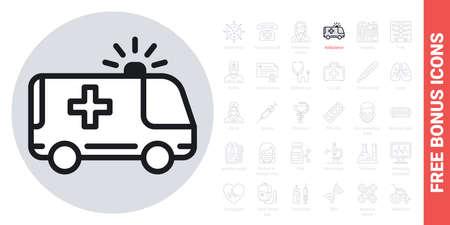 Ambulance car icon. Simple black and white version. Contains free bonus icons kit