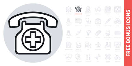 Ambulance call or emergency phone icon. Simple black and white version. Contains free bonus icons kit