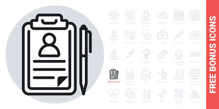 Medical record, disease history or patient card icon. Simple black and white version. Contains free bonus icons kit Ilustracja