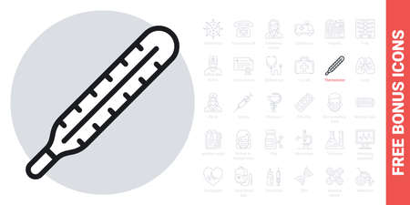 Medical thermometer icon. Simple black and white version. Contains free bonus icons kit Ilustracja