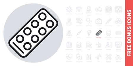 Pills strip icon. Simple black and white version. Contains free bonus icons kit