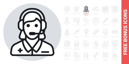 Emergency service, ambulance call or operator icon. Young woman with a headphone takes a call. Simple black and white version. Contains free bonus icons kit Ilustracja