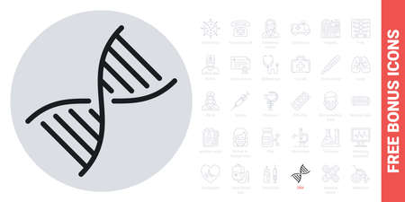 DNA, gene or genome icon. Simple black and white version. Contains free bonus icons kit 版權商用圖片 - 147415159
