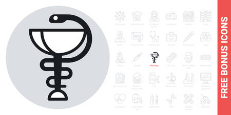 Pharmacy icon with caduceus symbol or hygieia bowl. Simple black and white version. Contains free bonus icons kit
