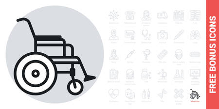 Wheelchair icon, disabled person concept. Simple black and white version. Contains free bonus icons kit