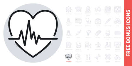 Cardiogram icon. Heart shape with pulse. Simple black and white version. Contains free bonus icons kit Ilustracja