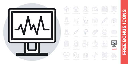Medical diagnostic or monitoring equipment icon. Simple black and white version. Contains free bonus icons kit Ilustracja