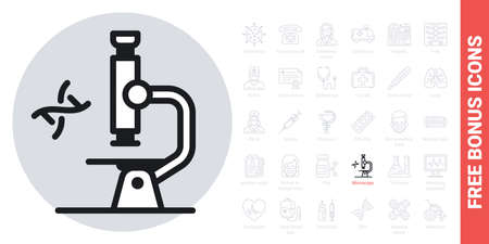 Microscope icon. Laboratory equipment concept. Simple black and white version. Contains free bonus icons kit 向量圖像