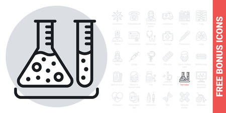 Test tubes icon. Laboratory equipment concept. Simple black and white version. Contains free bonus icons kit