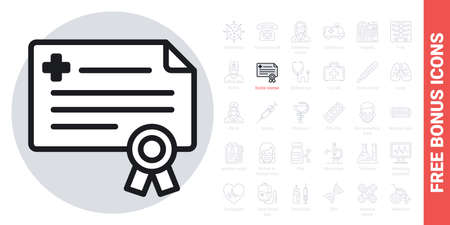 Doctor license or medical certificate icon. Simple black and white version. Contains free bonus icons kit Ilustracja