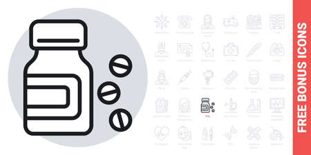 Medicine bottle and pills icon. Simple black and white version. Contains free bonus icons kit