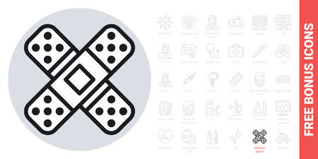Adhesive plaster, bandage plaster  icon. Simple black and white version. Contains free bonus icons kit 向量圖像