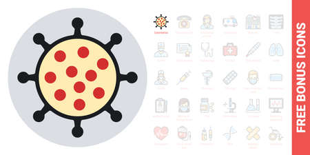 Coronavirus disease 2019 or COVID-19 icon. Simple color version. Contains free bonus icons kit 向量圖像