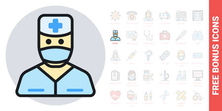 Doctor icon. Man in medical mask, medical gown and doctor's hat. Simple color version. Contains free bonus icons kit